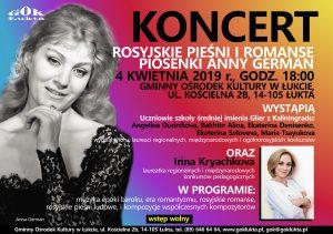 ŁUKTA: ROSYJSKIE PIEŚNI I ROMANSE. PIOSENKI ANNY GERMAN - KONCERT @ GOK ŁUKTA